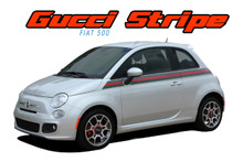 SE 5 ITALIAN APPLIQUE STRIPE : 2011 2012 2013 2014 2015 2016 2017 2018 Fiat 500 Gucci Style Abarth Door to Rear Wrap Around Vinyl Graphics Stripes Decals Kit (VGP-1739)