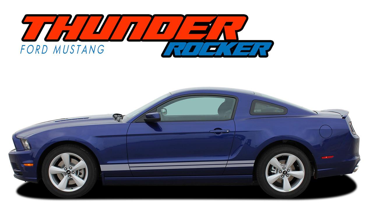 Thunder rocker 2013 2014 ford mustang lower rocker panel stripes vinyl graphic decals kit vgp 2375
