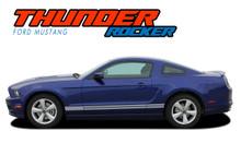 THUNDER ROCKER : 2013-2014 Ford Mustang Lower Rocker Panel Stripes Vinyl Graphic Decals Kit (VGP-2375)