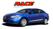 RACE : 2013 2014 2015 2016 Dodge Dart Lower Door Rocker Vinyl Graphics Decals Stripes Kit (VGP-1939)