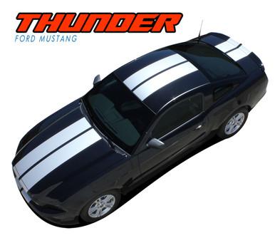 "THUNDER : 2013-2014 Ford Mustang 10"" Lemans Style Racing Stripes Hood Rally Striping Vinyl Graphics Kit (VGP-1777)"