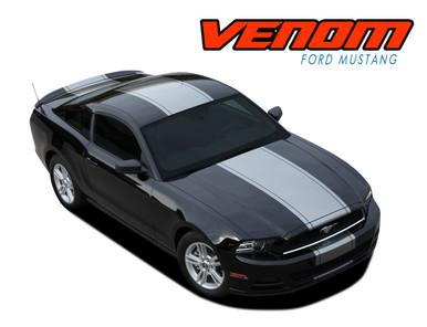 VENOM : 2013-2014 Ford Mustang Super Snake Center Hood Wide Racing Stripes Rally Decals Vinyl Graphics Kit (VGP-1779)