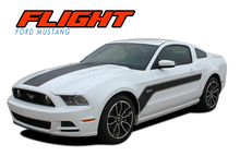 FLIGHT : 2013-2014 Ford Mustang Hockey Stick Style Hood and Side Vinyl Graphics Stripe Decal Kit (VGP-2471)