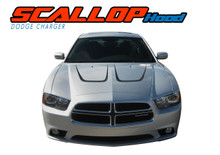 SCALLOP HOOD : 2011 2012 2013 2014 Dodge Charger Hood Accent Vinyl Graphics Decal Stripe Kit (VGP-1710)