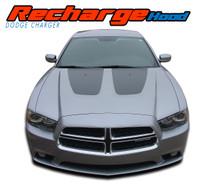 RECHARGE HOOD : 2011 2012 2013 2014 Dodge Charger Split Hood Decals Stripe Vinyl Graphics Kit (VGP-1640)
