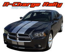 "N-CHARGE RALLY : 2011 2012 2013 2014 Dodge Charger 10"" Racing Stripes Vinyl Graphics Rally Decal Kit (VGP-1768)"