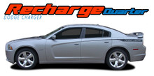 RECHARGE QUARTER : 2011 2012 2013 2014 Dodge Charger Rear Quarter Panel Vinyl Graphics Stripe Decal Kit (VGP-2855)