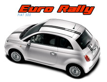 EURO RALLY : 2011 2012 2013 2014 2015 2016 2017 2018 Fiat 500 Offset Racing Stripe Abarth Vinyl Graphics Striping Decals Kit (VGP-1670)