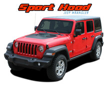 SPORT HOOD : 2018 2019 2020 2021 Jeep Wrangler Hood Blackout Vinyl Graphics Decal Stripe Kit (VGP-5564)