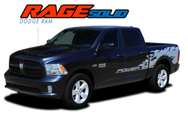 "RAM RAGE SOLID : 2009 2010 2011 2012 2013 2014 2015 2016 2017 2018 Dodge Ram ""Power Wagon Style"" Vinyl Graphics Truck Bed Decal Striping Kit (VGP-3107)"