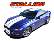 "STALLION : 2015 2016 2017 Ford Mustang Lemans Style 10"" Wide Racing Rally Stripes Vinyl Graphics Kit (VGP-3218)"