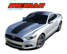 MEDIAN : 2015-2017 Ford Mustang Wide Center Hood Roof Trunk Racing Stripe Rally Striping Vinyl Graphics Kit (VGP-3216-1)