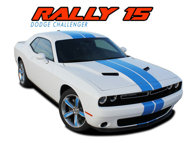 RALLY 15 : 2015 2016 2017 2018 2019 2020 Dodge Challenger Factory OEM Style Vinyl Graphic Racing Rally Striping Decal Stripe Kit (VGP-3232)