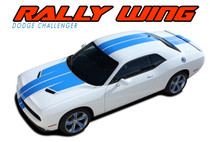 RALLY WING 15 : 2015 2016 2017 2018 2019 Dodge Challenger Wide Rally Hood Vinyl Graphic Full Racing Stripes Decal Striping Kit (VGP-3236)