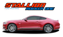 STALLION ROCKER ONE : 2015 2016 2017 Ford Mustang Lower Door Rocker Panel Stripes Striping Vinyl Graphic Decals Kit (VGP-3289)