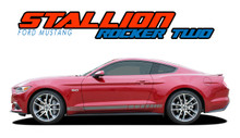 STALLION ROCKER TWO : 2015 2016 2017 Ford Mustang Strobe Lower Rocker Panel Stripes Vinyl Graphic Decals Kit (VGP-3290)
