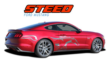 STEED : 2015 2016 2017 Ford Mustang Pony Horse Side Door Fender Vinyl Graphic Decals Stripes Kit (VGP-3288)