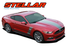 STELLAR : 2015 2016 2017 Ford Mustang Boss Style Hood Side Door Vinyl Graphic Decals Stripes Kit (VGP-3293)