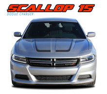 "SCALLOP HOOD : 2015 2016 2017 2018 2019 2020 2021 Dodge Charger ""C"" Style Hood Vinyl Graphic Decals Stripe Kit (VGP-3314.A)"