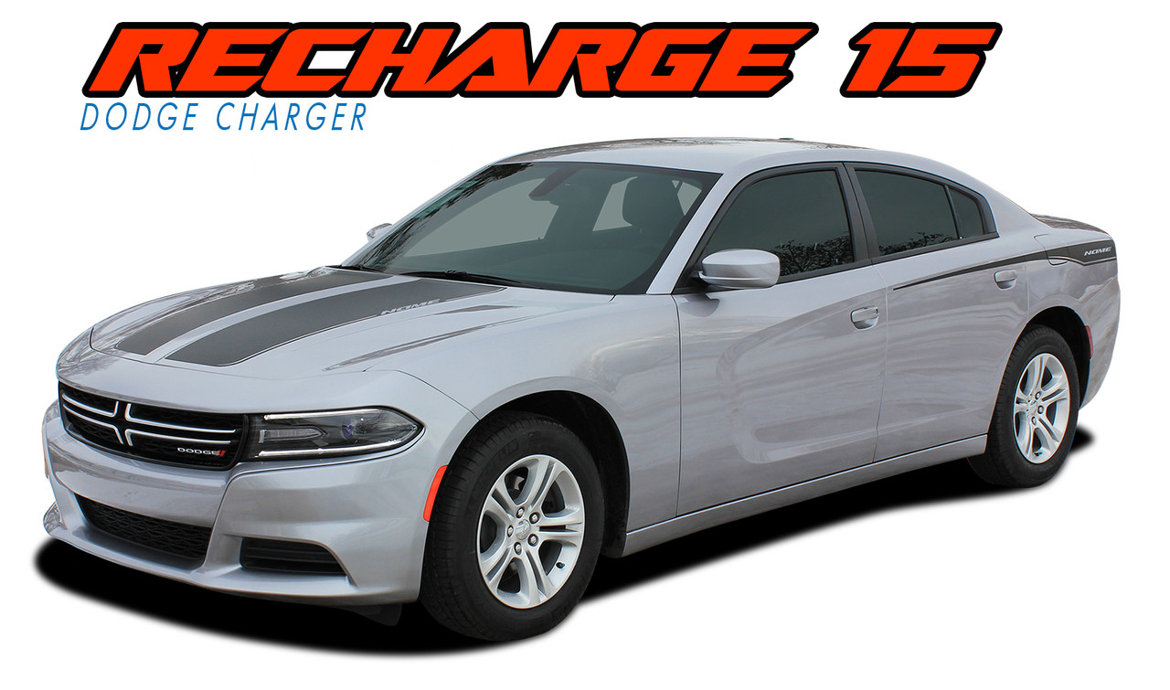 RECHARGE 15 COMBO : 2015-2019 Dodge Charger Split Hood and Rear Quarter  Panel Sides Vinyl Graphic Decals and Stripe Kit