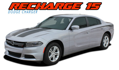 RECHARGE 15 COMBO : 2015 2016 2017 2018 2019 2020 Dodge Charger Split Hood and Rear Quarter Panel Sides Vinyl Graphic Decals and Stripe Kit (VGP-3311)
