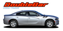 RECHARGE DOUBLE BAR 15 : 2015 2016 2017 2018 2019 Dodge Charge Hood to Fender Hash Marks Vinyl Graphic Decals and Stripe Kit (VGP-3317)