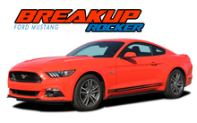 BREAKUP ROCKER : 2015 2016 2017 Ford Mustang Lower Door Rocker Panel Stripes Vinyl Graphic Decals Kit (VGP-3438)