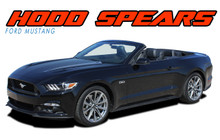 MUSTANG HOOD SPEARS : 2015 2016 2017 Ford Mustang Hood Spear Spike Vinyl Graphic Accent Decals Stripes Kit (VGP-3441)