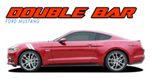 Mustang DOUBLE BAR 15 : 2015 2016 2017 Ford Mustang Hood to Fender Hash Mark Style Vinyl Racing Stripes Kit (VGP-3424)
