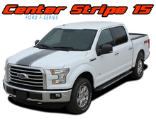 F-150 CENTER STRIPE : 2015 2016 2017 2018 2019 2020 Ford F-150 Center Hood Tailgate Vinyl Racing Stripes Graphics Decals Kit (VGP-3523)