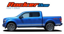 F-150 ROCKER ONE : 2015 2016 2017 2018 2019 Ford F-150 Lower Door Rocker Panel Stripes Vinyl Graphic Decals Kit (VGP-3524)