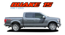 QUAKE 15 PACKAGE : 2015 2016 2017 2018 2019 2020 Ford F-150 Hockey Stripe Tremor FX Appearance Style Side Doors and Hood Vinyl Graphics Decals Striping Kit (VGP-3521)