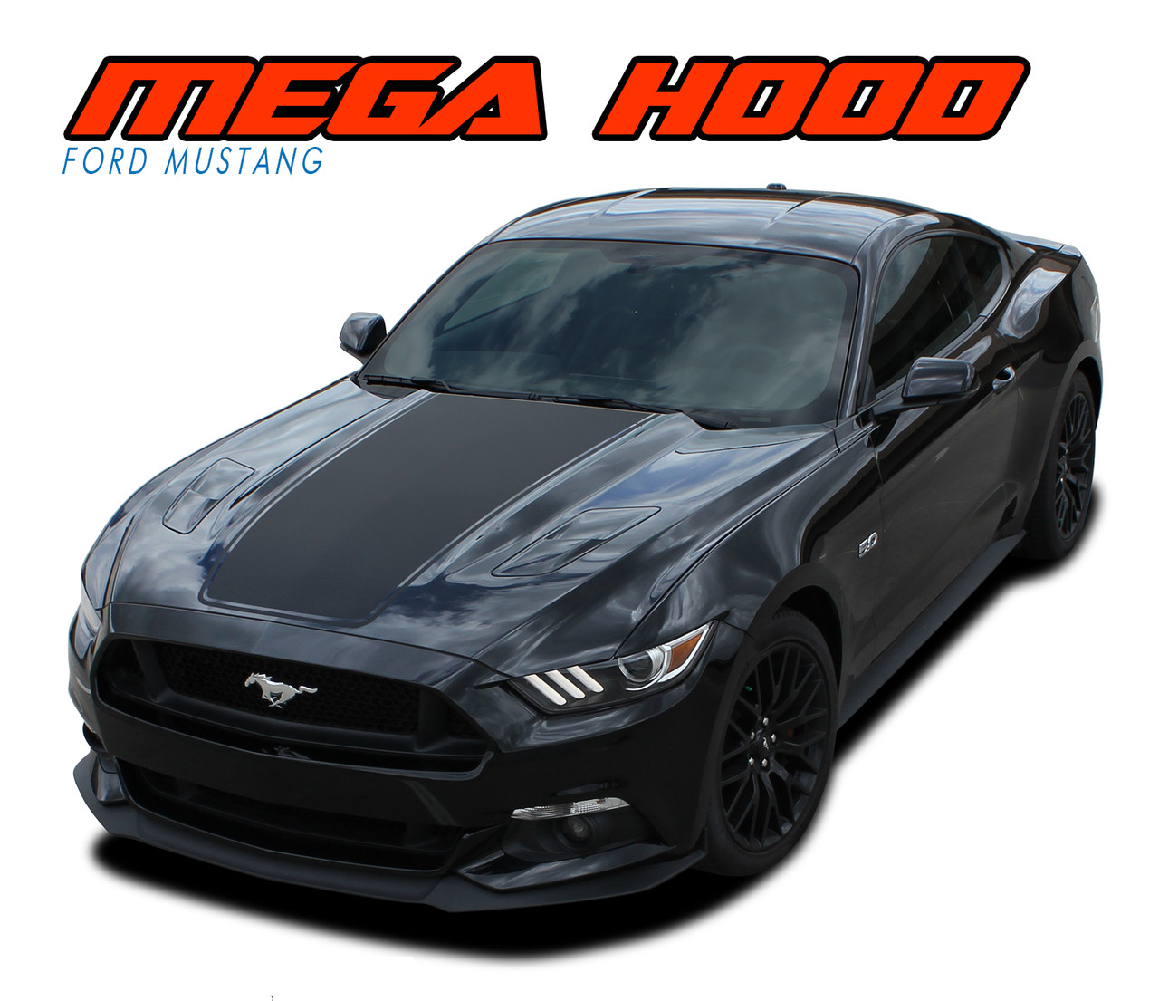 Mega hood 2015 2016 2017 ford mustang wide center hood racing rally stripes vinyl graphic decals kit vgp 3598