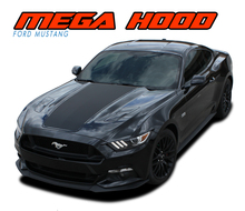 MEGA HOOD : 2015 2016 2017 Ford Mustang Wide Center Hood Racing Rally Stripes Vinyl Graphic Decals Kit (VGP-3598)