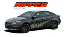 RIPPED : 2013 2014 2015 2016 Dodge Dart Lower Door Splash Style Rocker Vinyl Graphics Decal Stripes Kit (VGP-3475)
