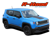 RENEGADE HOOD : 2014 2015 2016 2017 2018 2019 Jeep Renegade Center Hood Blackout Trailhawk Style Vinyl Graphics Decal Stripe Kit (VGP-3671)