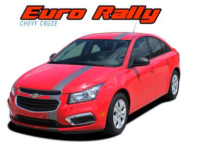 EURO RALLY : 2011 2012 2013 2014 2015 2016 Chevy Cruze Euro Offset Hood Rally Racing Stripes Vinyl Graphics Decals Kit (VGP-3638.39)