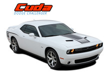 CUDA STROBE COMBO : 2008 2009 2010 2011 2012 2013 2014 2015 2016 2017 2018 2019 2020 2021 Dodge Challenger Factory OEM Cuda Style Hood and Side Vinyl Graphic Decal Stripes Kit (VGP-3740.44)
