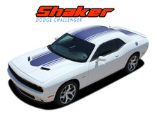 "SHAKER : 2015 2016 2017 2018 2019 Dodge Challenger Factory OEM ""Shaker Style"" Hood Roof Trunk Vinyl Rally Stripes Kit (VGP-3734)"