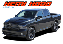 HEMI HOOD : 2009 2010 2011 2012 2013 2014 2015 2016 2017 2018 Dodge Ram Split Hood Vinyl Graphics Accent Decal Stripe Kit (VGP-3858)