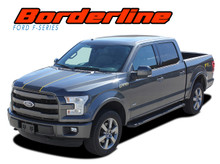 BORDERLINE : 2015 2016 2017 2018 2019 Ford F-150 Center Wide with Accent Racing Stripes Vinyl Graphics Decals Kit (VGP-3820)