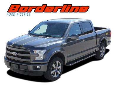 BORDERLINE : 2015 2016 2017 2018 2019 2020 Ford F-150 Center Wide with Accent Racing Stripes Vinyl Graphics Decals Kit (VGP-3820)
