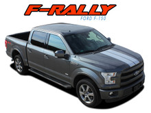 F-RALLY : 2015 2016 2017 2018 2019 Ford F-150 Split Center Racing Stripes Vinyl Graphics and Decals Kit (VGP-3822)