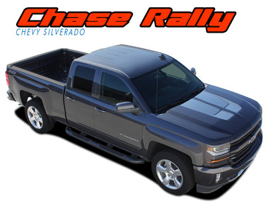 CHASE RALLY : 2016 2017 2018 Chevy Silverado Rally Edition Style Hood Tailgate Vinyl Graphic Decal Racing Stripe Kit (VGP-3941)