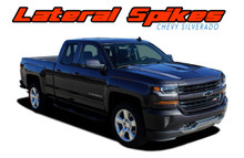 LATERAL SPIKES : 2016 2017 2018 Chevy Silverado Lateral Hood Spears Vinyl Graphic Decal Racing Stripe Kit (VGP-3943)