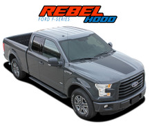 REBEL HOOD : 2015 2016 2017 2018 2019 Ford F-150 Hood Blackout Vinyl Graphic Decal Stripe Kit (VGP-3975)