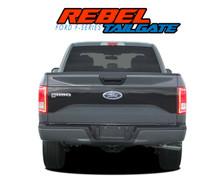 "REBEL TAILGATE : 2015 2016 2017 Ford F-150 ""Rebel Style"" Tailgate Blackout Vinyl Graphic Decal Stripe Kit (VGP-3976)"