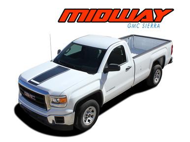 MIDWAY : 2014 2015 2016 2017 2018 GMC Sierra Center Hood & Tailgate Vinyl Graphic Decal Racing Stripe Kit (VGP-4020)