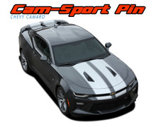 CAM-SPORT PIN : 2016 2017 2018 Chevy Camaro OE Factory Style Vinyl Graphics Racing Stripes with Pin Outline Hood Rally Decals Kit for SS RS V6 Models (VGP-4023)