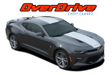 OVERDRIVE : 2016 2017 2018 Chevy Camaro Center Wide Hood Racing Stripes Rally Vinyl Graphics and Decals Kit fits SS, RS, V6 MODELS (VGP-4049)